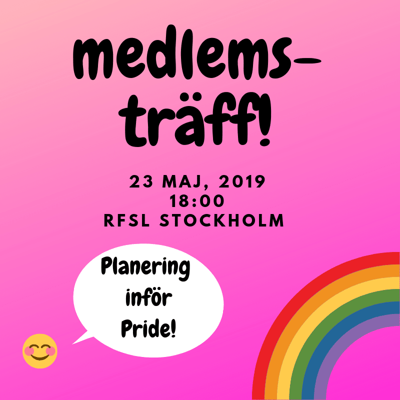 Member meeting May 23: Planning for Stockholm Pride